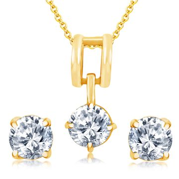 SUKKHI | Sukkhi Dazzling Gold Plated Solitare Pendant Set For Women