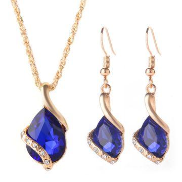 SUKKHI | Sukkhi Sleek Blue Crystal Gold Plated Pendant Set for Women