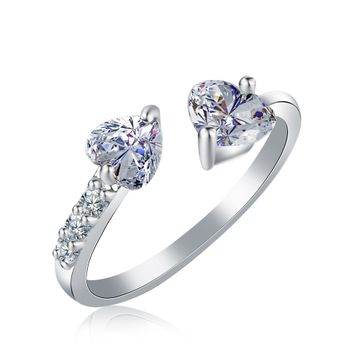 SUKKHI | Sukkhi Heart Shaped Rhodium Plated CZ Ring For Women