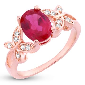 SUKKHI | Sukkhi Dazzling Butterflies-On-Ruby Crystal Gold Plated Ring for women