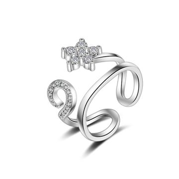 SUKKHI   Sukkhi Sleek Floral Austrian Diamond Rhodium Plated Ring for Women