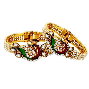 SUKKHI | Sukkhi Traditional Peacock Design Gold Plated Pearl Studded Kadas for Women Pack Of 2