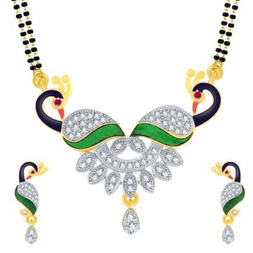 SUKKHI   Sukkhi American Diamond Gold Plated Peacock Mangalsutra with Chain and Earrings for Women