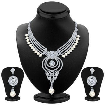 SUKKHI | Sukkhi Pretty Rhodium Plated Austrian Diamond Necklace Set