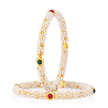 SUKKHI | Sukkhi Valentine Pearl Studded Gold Plated Bangle Set For Women