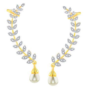 SUKKHI | Sukkhi Gold Plated American Diamond Leaf Shape Ear Cuffs Earrings For Women & Girls