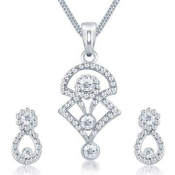 SUKKHI | Sukkhi Modern Rhodium Plated Austrian Diamond Pendant Set