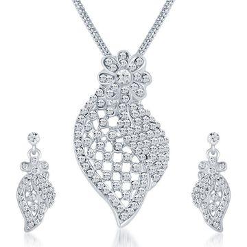 SUKKHI | Sukkhi Stunning Rhodium Plated Austrian Diamond Pendant Set