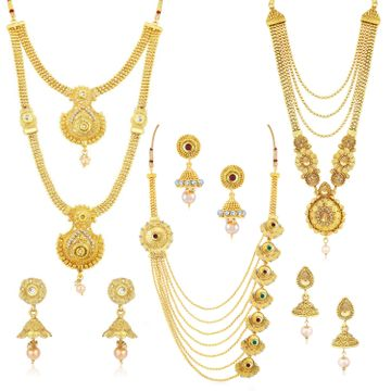 SUKKHI | Sukkhi Ethnic Gold Plated Kundan Multi-String Set of 3 Necklace Combo for Women