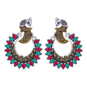 SUKKHI | Sukkhi Modish Oxidised Peacock Chandbali Earring for Women