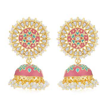 SUKKHI | Sukkhi Attractive Pearl Gold Plated Kundan Meenakari Jhumki Earring for Women