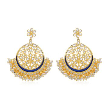 SUKKHI | Sukkhi Glorious Pearl Gold Plated Kundan Chandbali Earring for Women