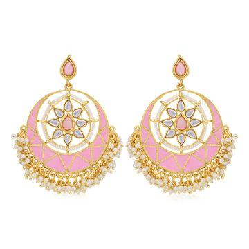SUKKHI | Sukkhi Dazzling Pearl Gold Plated Kundan Meenakari Chandbali Earring for Women