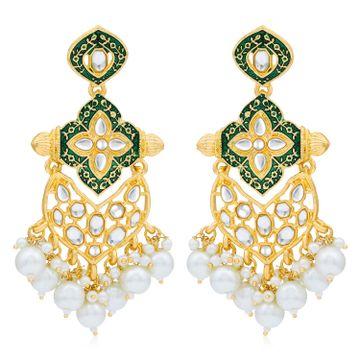 SUKKHI | Sukkhi Fabulous Pearl Gold Plated Kundan Meenakari Chandelier Earring for Women