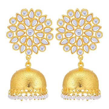 SUKKHI | Sukkhi Glamorous Pearl Gold Plated Kundan Jhumki Earring for Women