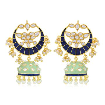 SUKKHI | Sukkhi Sparkling Pearl Gold Plated Kundan Meenakari Chandbali Earring for Women
