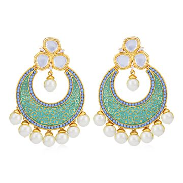 SUKKHI | Sukkhi Classic Pearl Gold Plated Kundan Mint Collection Chandbali Earring for Women