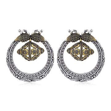 SUKKHI | Sukkhi Stylish Oxidised Peacock Chandbali Earring For Women