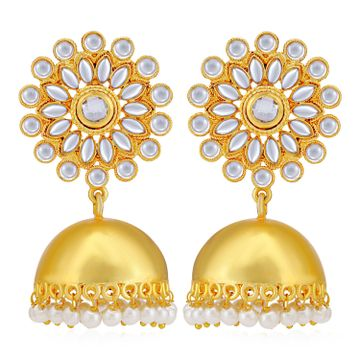 SUKKHI | Sukkhi Adorable Gold Plated Kundan & Pearl Jhumki Earring for Women