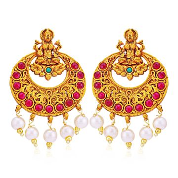 SUKKHI | Sukkhi Classic Pearl Gold Plated Goddess Laxmi Chandbali Earring for Women