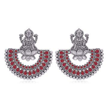 SUKKHI | Sukkhi Adorable Oxidised Goddess Laxmi Chandbali Earring for Women