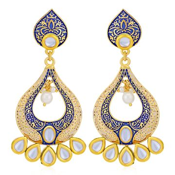 SUKKHI | Sukkhi Ravishing Pearl Gold Plated Mint Collection Kundan Chandelier Earring for Women