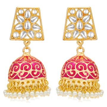 SUKKHI | Sukkhi Gorgeous Pearl Gold Plated Kundan Meenakari Jhumki Earring for Women
