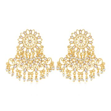SUKKHI   Sukkhi Sparkling Pearl Gold Plated Kundan Chandelier Earring for Women