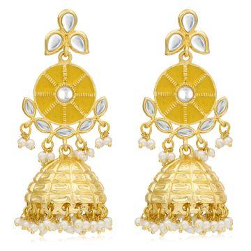 SUKKHI   Sukkhi Sparkling Pearl Gold Plated Kundan Meenakari Earring for Women