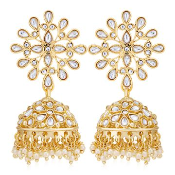 SUKKHI | Sukkhi Eye-Catching Pearl Gold Plated Kundan Jhumki Earring for Women