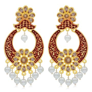 SUKKHI | Sukkhi Adorable LCT Gold Plated Mint Collection Pearl Chandelier Earring for Women