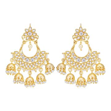 SUKKHI | Sukkhi Stunning Gold Plated Kundan & Pearl Chandelier Earring for Women