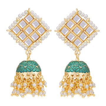 SUKKHI | Sukkhi Designer Gold Plated Kundan & Pearl Meenakari Jhumki Earring for Women