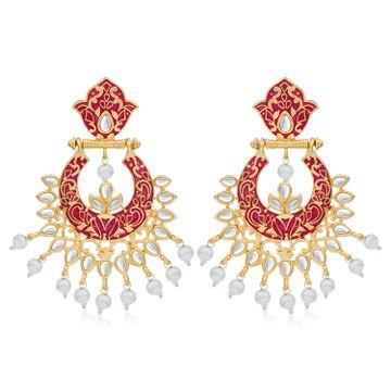 SUKKHI | Sukkhi Modish Gold Plated Kundan & Pearl Mint Collection Chandbali Earring for Women