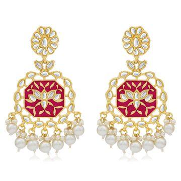SUKKHI | Sukkhi Dazzling Pearl Gold Plated Kundan Meenakari Chandelier Earring for Women
