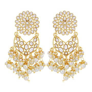 SUKKHI   Sukkhi Luxurious Gold Plated Kundan & Pearl Chandelier Earring for Women