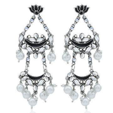 SUKKHI | Sukkhi Glorious Pearl Oxidised Kundan Lotus Meenakari Chandelier Earring For Women