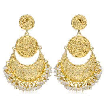 SUKKHI | Sukkhi Glittery Gold Plated Pearl Chandelier Earring For Women