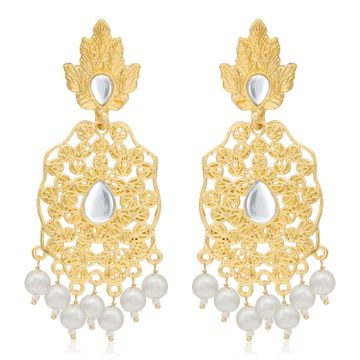 SUKKHI   Sukkhi Stylish Pearl Gold Plated Kundan Dangle Earring For Women