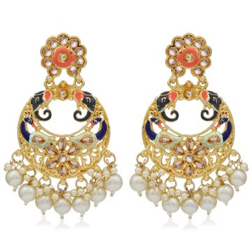 SUKKHI | Sukkhi Traditional Pearl Gold plated Peacock Meenakari Chandbali Earring For Women