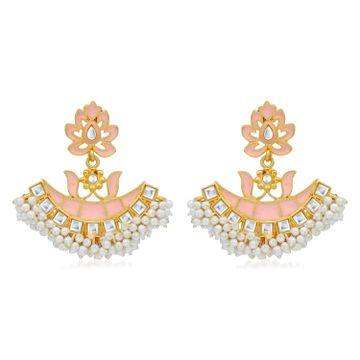 SUKKHI | Sukkhi Graceful Pearl Gold Plated Kundan Meenakari Chandbali Earring For Women