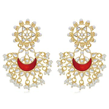SUKKHI | Sukkhi Designer Pearl Gold Plated Kundan Meenakari Chandbali Earring For Women