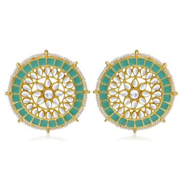 SUKKHI | Sukkhi Glorious Pearl Gold Plated Kundan Meenakari Stud Earring For Women