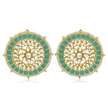 SUKKHI | Sukkhi Glorious Pearl Gold Plated Kundan Meenakari Stud Earring For Women