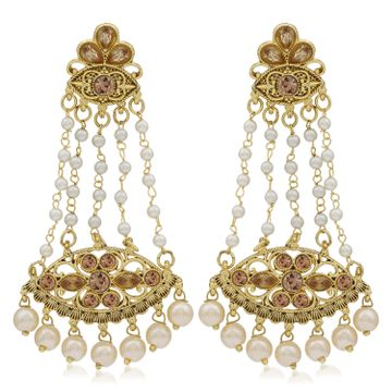 SUKKHI | Sukkhi Stylish LCT Gold Plated Pearl Chandelier Earring For Women