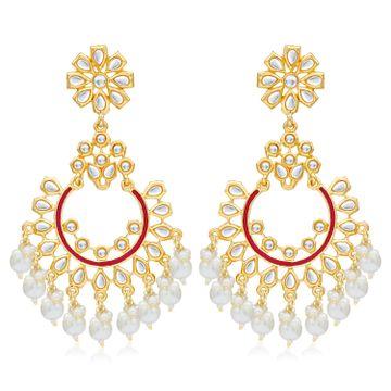 SUKKHI   Sukkhi Antique Pearl Gold Plated Kundan Chandelier Earring For Women