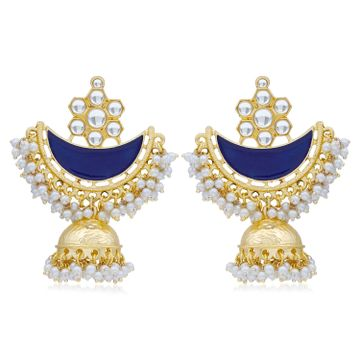 SUKKHI | Sukkhi Ravishing Pearl Gold Plated Kundan Meenakari Jhumki Earring For Women
