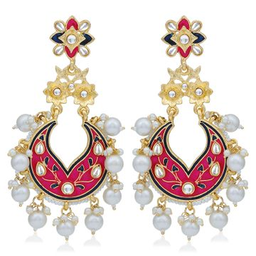 SUKKHI | Sukkhi Marvellous Pearl Gold Plated Kundan Meenakari Chandelier Earring For Women