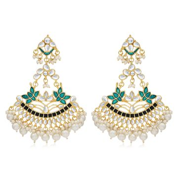SUKKHI | Sukkhi Spectacular Pearl Gold Plated Kundan Lotus Meenakari Chandelier Earring For Women