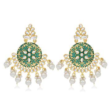 SUKKHI | Sukkhi Stylish Pearl Gold Plated Kundan Meenakari Chandelier Earring For Women